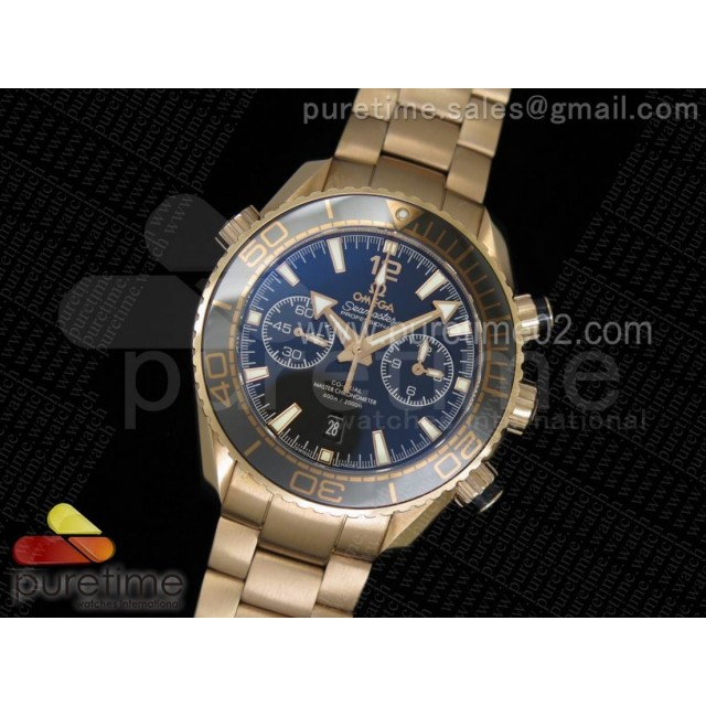 Seamaster Planet Ocean Ceragold RG Black Ceramic Bezel Black Dial on RG Bracelet A9301