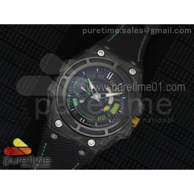 Spidolite II Tech Green Forge Carbon V6F 1:1 Best Edition on Black Nylon Strap A7750