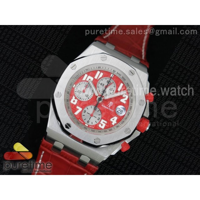 "Royal Oak Offshore ""Rhone-Fusterie"" JF 1:1 Best Edition on Red Leather Strap A7750"