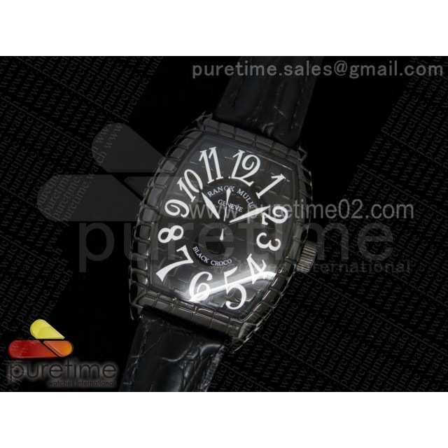 Black Croco Ceramic Black Dial on Black Leather Strap A23J