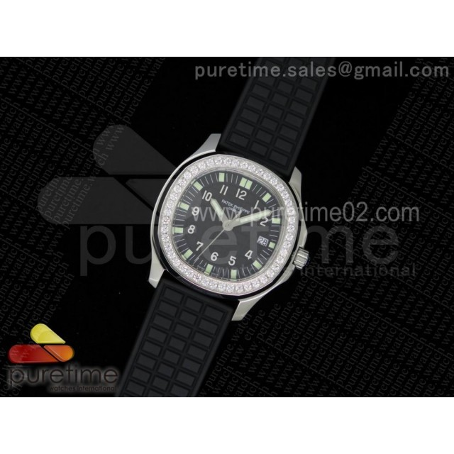 Aquanaut Luce SS Black Textured Dial on Black Rubber Strap A23 Quartz