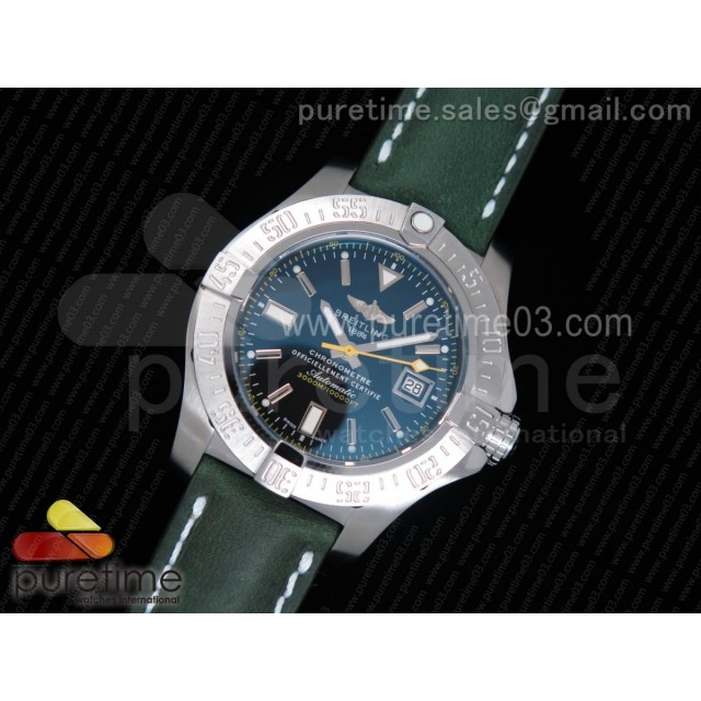 Avenger II Seawolf SS Black Dial Stick Markers Yellow Hand on Green Leather Strap A2836
