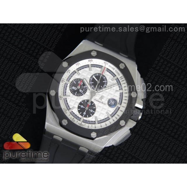 Royal Oak Offshore 44mm SS Noob 1:1 Best Edition on Black Rubber Strap A3126