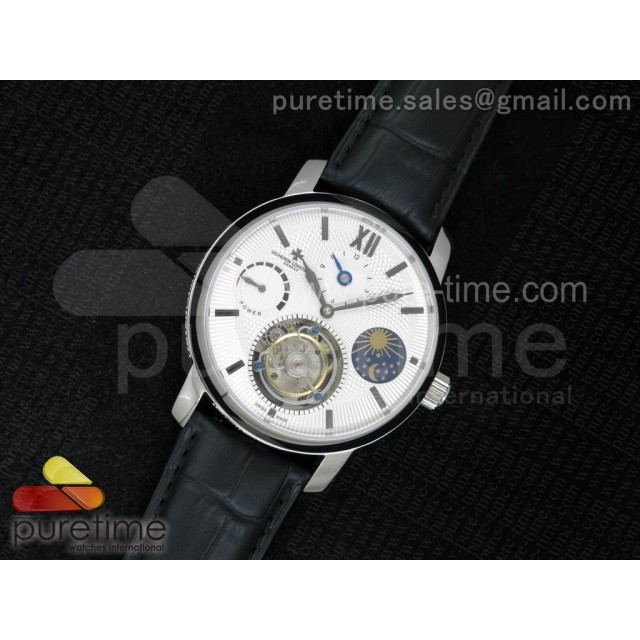Patrimony Tourbillon Power Reserve SS AXF White Textured Dial on Black Leather Strap