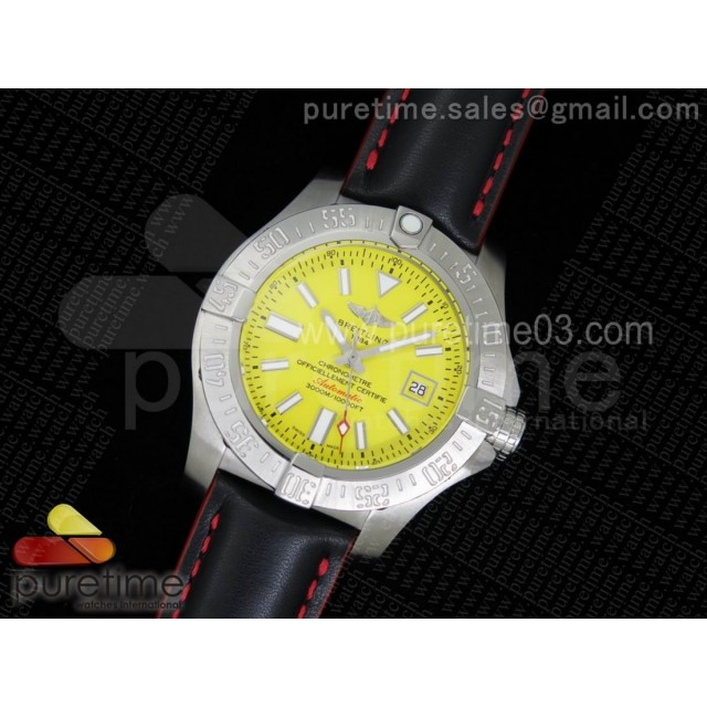 Avenger II Seawolf SS Yellow Dial Rectangle Markers on Black Leather Strap A2824