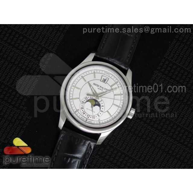 Classic 5205 Moonphase SS White Dial on Black Leather Strap Miyota 9015