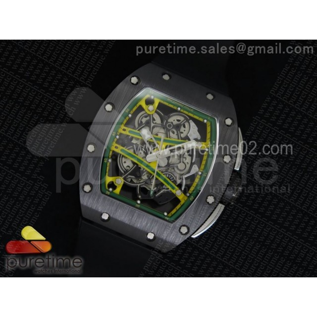 RM061 Black Ceramic Green Inner Bezel Skeleton Dial on Black Rubber Strap MIYOTA8215