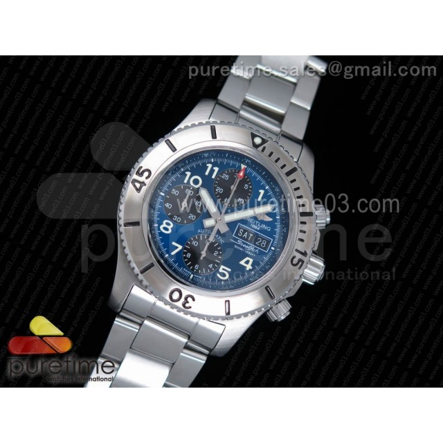 SuperOcan SteelFish Chronograph SS Blue/Black Dial on SS Bracelet A7750