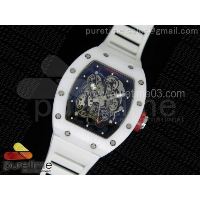 RM055 White Ceramic Black/Red Inner Bezel Skeleton Dial on White Rubber Strap MIYOTA8215