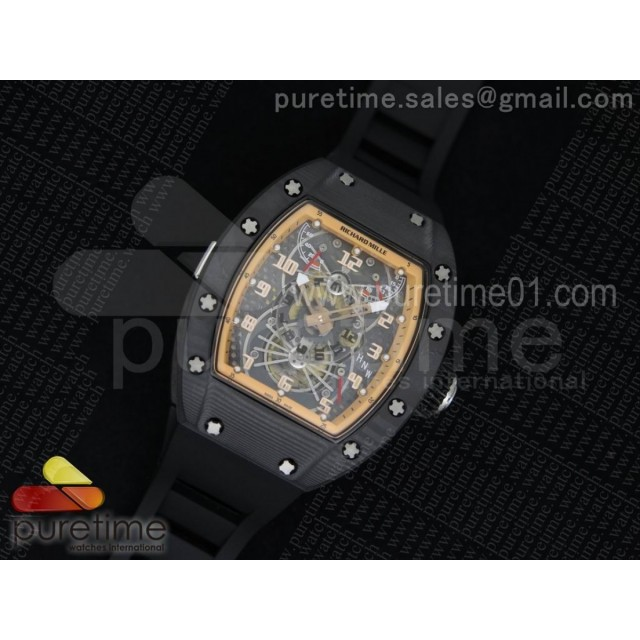 RM022 Forge Carbon Black Inner Bezel Skeleton Dial on Black Rubber Strap MIYOTA 9015
