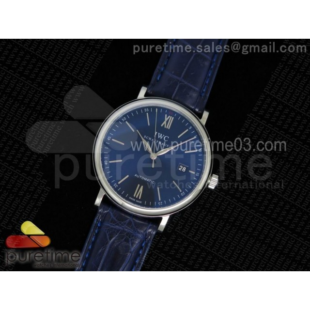 Portofino Automatic SS Blue Dial on Blue Croco Leather Strap A2892