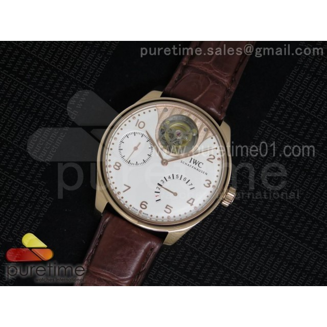 Portuguese Tourbillon Mystere RG TF Best Edition White/RG Dial on Brown Croco Leather Strap