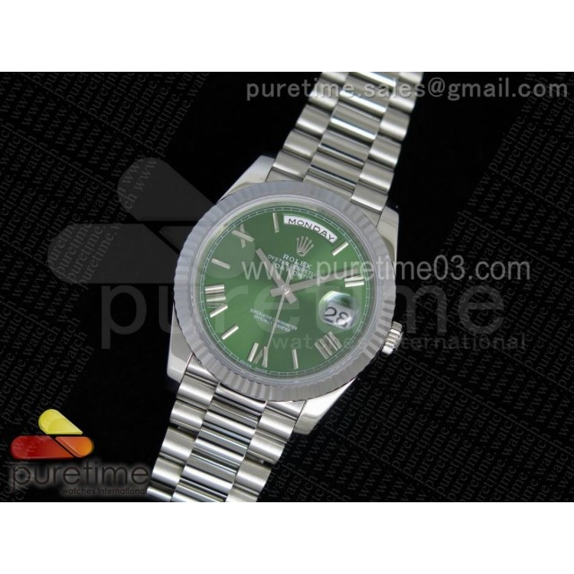 Day-Date 40 228239 Noob 1:1 Best Edition Olive Green Dial on SS President Bracelet A3255