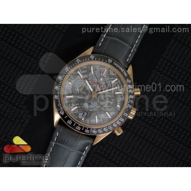 Speedmaster Co-Axial Chrono RG Gray Textured Dial on Gray Leather Strap Jap Quartz