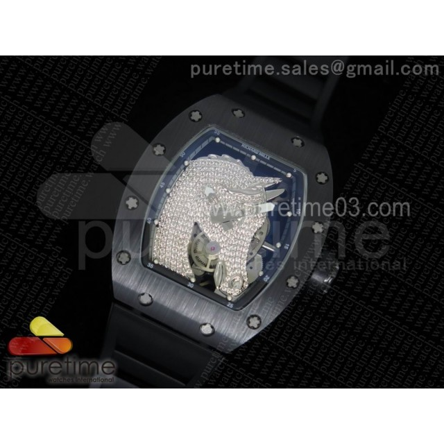 RM52-02 Diamonds Horse Unique Piece Real Ceramic on Black Rubber Strap MIYOTA8215