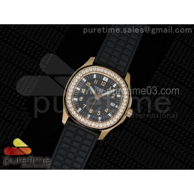 Aquanaut Luce RG Black Textured Dial Diamonds Bezel on Black Rubber Strap A23 Quartz