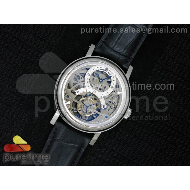 Classique 2932 SS Tourbillon Skeleton Dial on Black Leather Strap