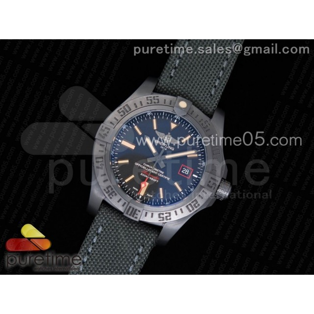 Avenger BlackBird 44mm DLC ZF 1:1 Best Edition Titanium Case Black Dial on Gray Nylon Strap A2824 (Free Leather Strap)
