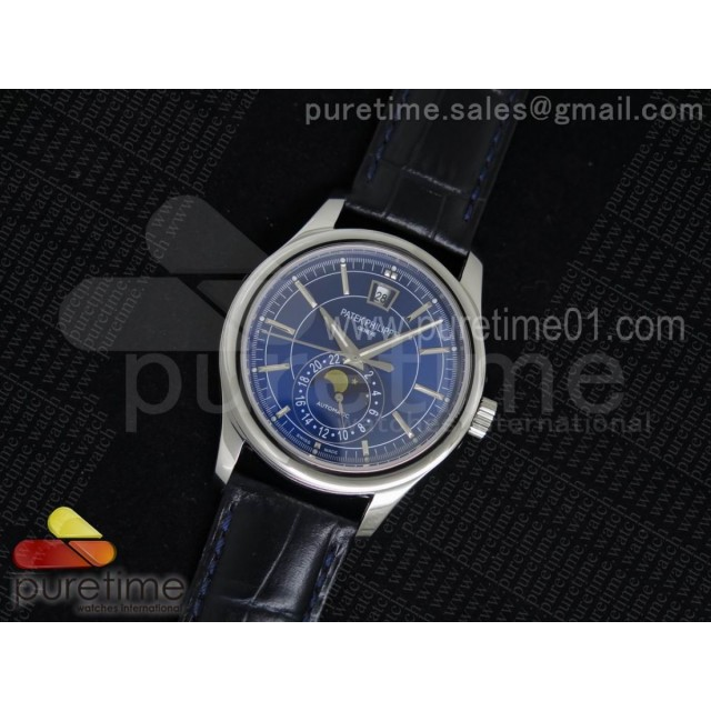 Classic 5205 Moonphase SS Blue Dial on Black Leather Strap Miyota 9015