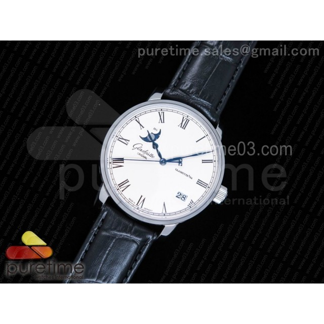 Excellence Panorama Date Moon Phase SS GF 1:1 Best Edition White Dial on Black Leather Strap A100
