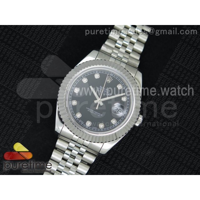 Date Just II 41mm SS Noob Black Dial Diamonds Markers on SS Bracelet A2836