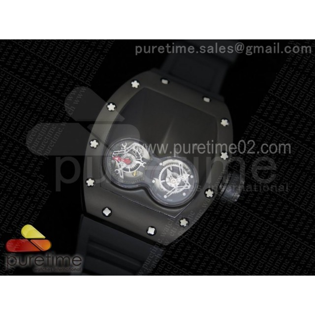 RM053 PVD Fake Tourbillon Skeleton Dial on Black Rubber Strap A2824