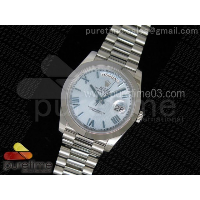Day-Date 40 228206 Noob 1:1 Best Edition Quadrant Textured Ice Blue Dial on SS President Bracelet A3255