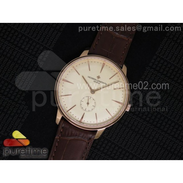 Patrimony Sub Seconds RG Cream Dial on Brown Leather Strap A4400