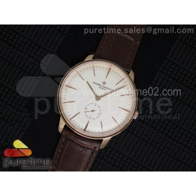 Patrimony Sub Seconds RG White Dial on Brown Leather Strap A4400
