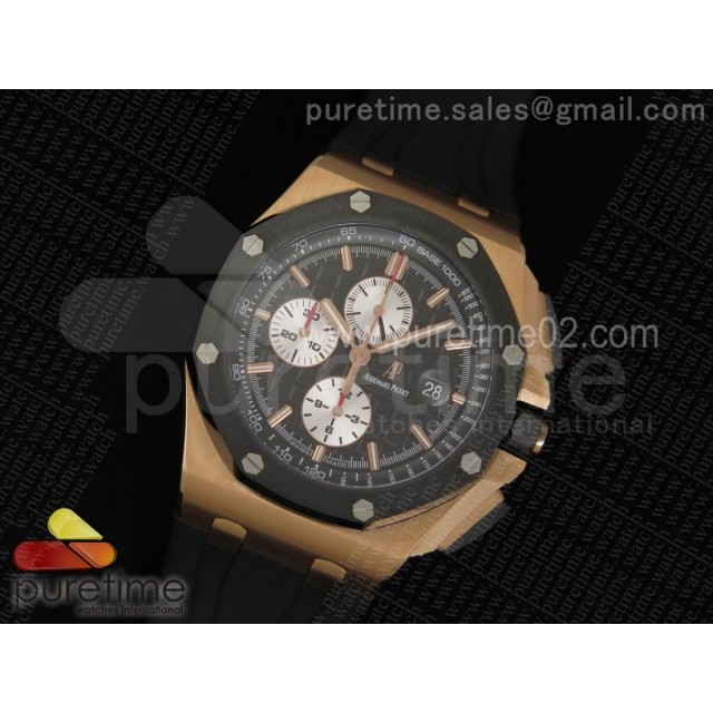 Royal Oak Offshore 44mm RG Noob 1:1 Best Edition on Black Rubber Strap A3126