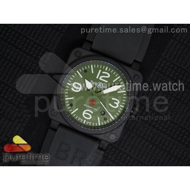 BR 03-92 Military Carbon PVD Green Dial on Black Rubber Strap MIYOTA 9015 V2