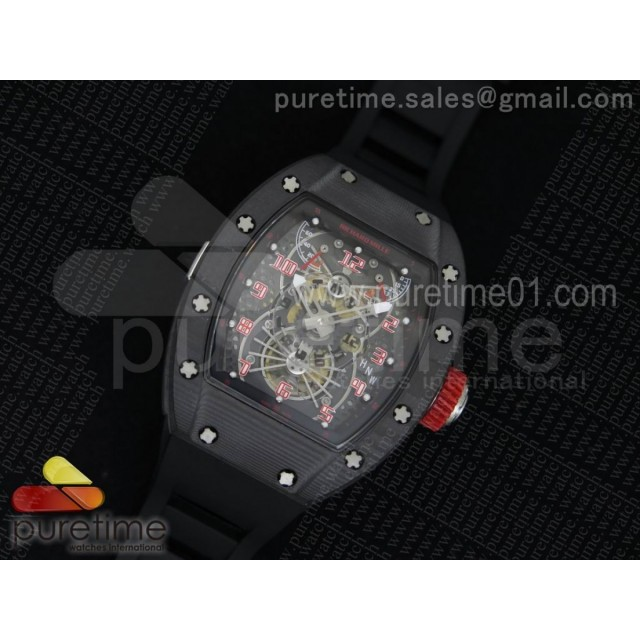 RM022 Forge Carbon Gold Inner Bezel Skeleton Dial on Black Rubber Strap MIYOTA 9015