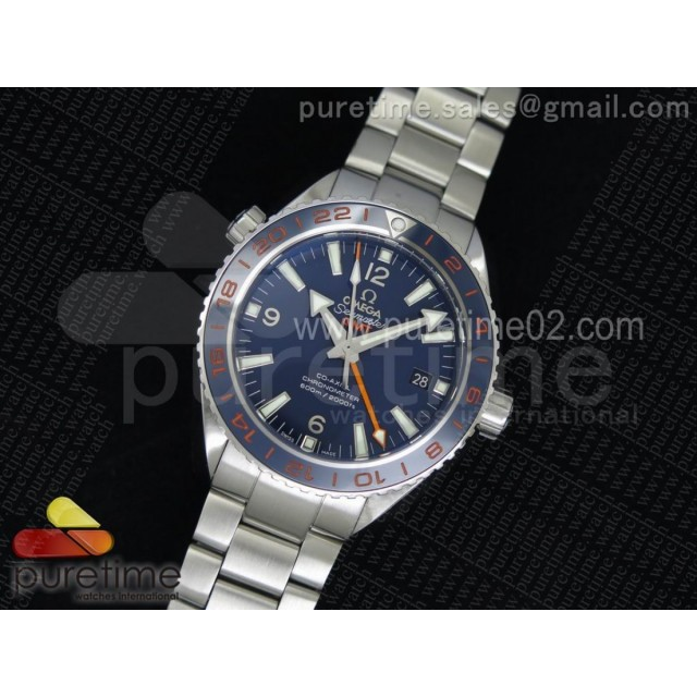 Planet Ocean GMT 42mm Goodplanet Blue Bezel Orange Marker Blue Dial on SS Bracelet A8605