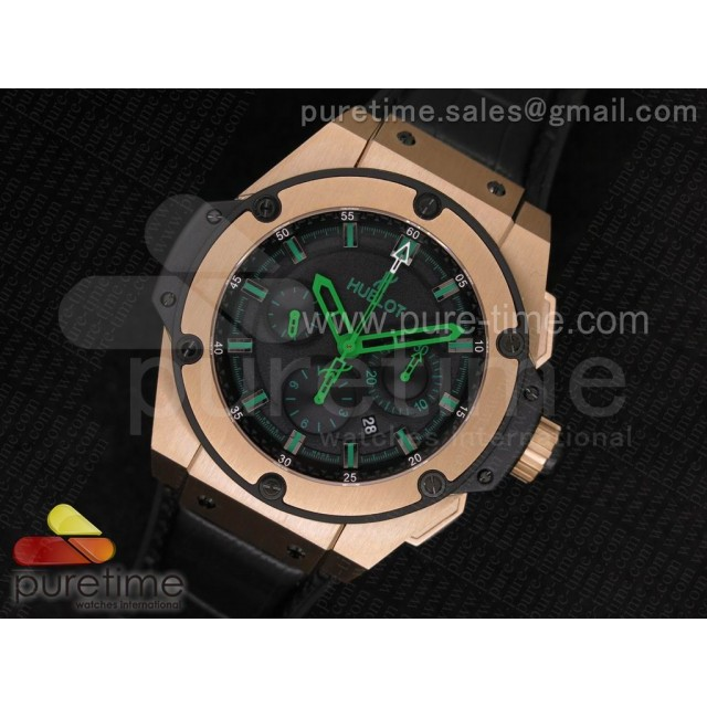 Big Bang King Power RG Black Dial Green Hands and Markers on Black Gummy Strap A7750