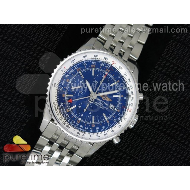 Navitimer GMT SS JF 1:1 Best Edition Blue Dial on SS Bracelet A7750