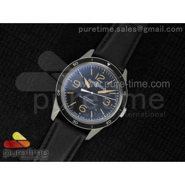 BR 123 Vintage Sport Heritage SS Black Dial on Black Leather Strap MIYOTA 9015