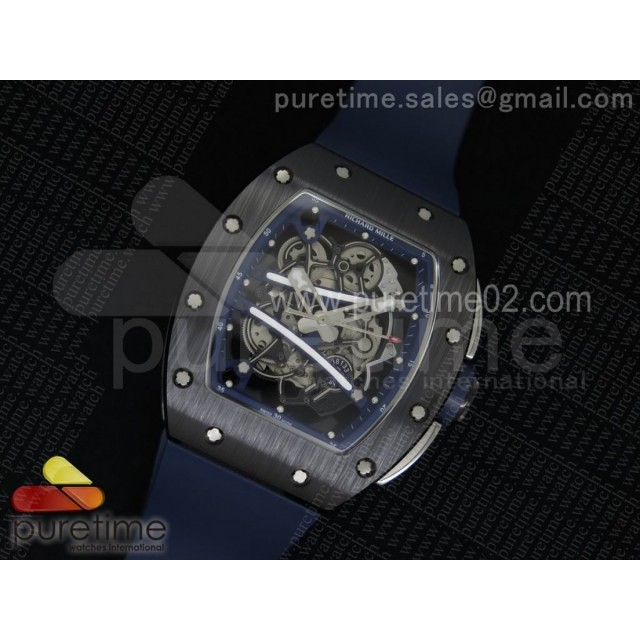RM061 Black Ceramic Blue Inner Bezel Skeleton Dial on Blue Rubber Strap MIYOTA8215