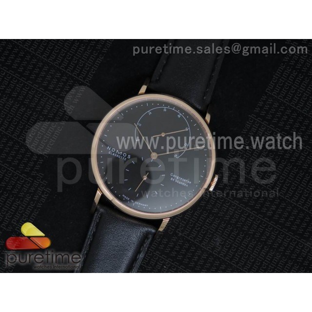 Lambda 954 RG Black Dial on Black Leather Strap A1001