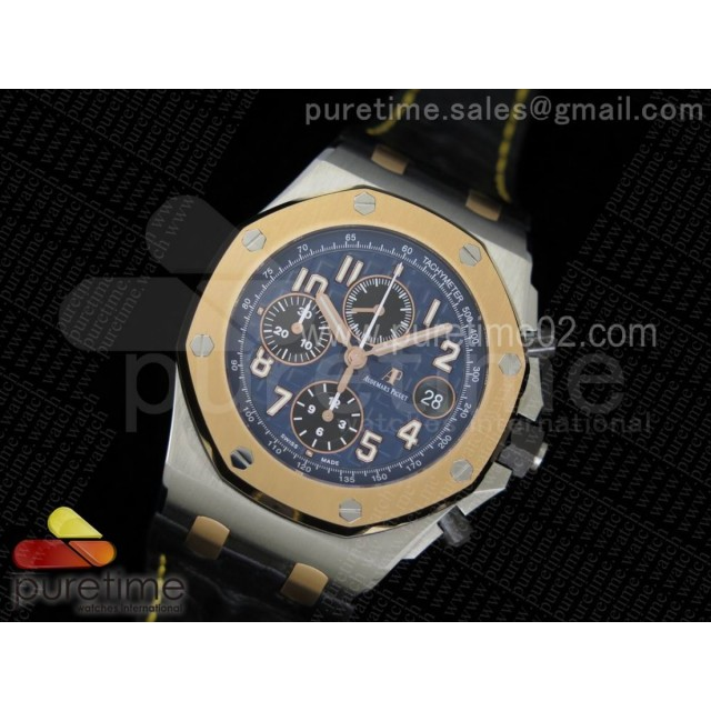 Royal Oak Offshore JF Best Edition SS Case RG Bezel Blue Dial on Black Leather Strap A3126