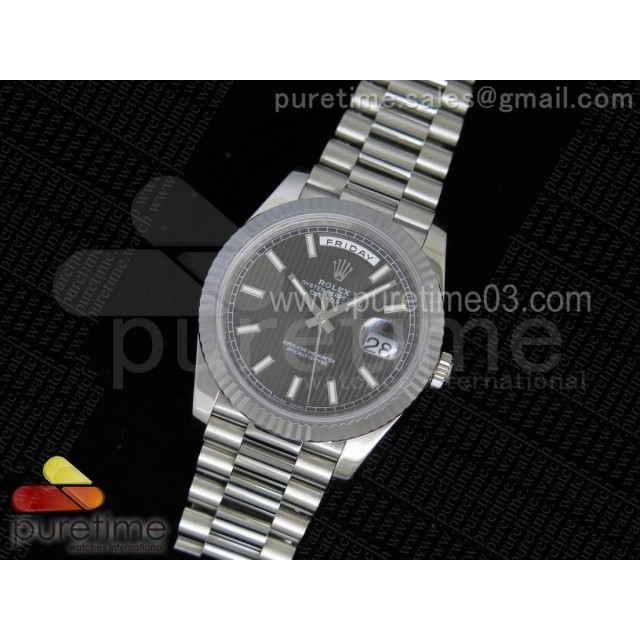 Day-Date 40 228239 Noob 1:1 Best Edition Stripe Textured Gray Dial on SS President Bracelet A3255