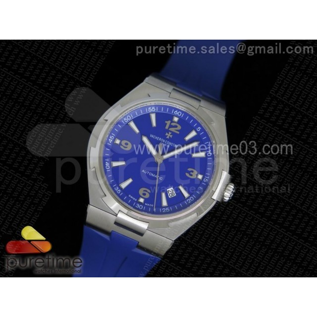 Overseas SS 1:1 Best Edition Blue Textured Dial on Blue Rubber Strap MIYOTA9015