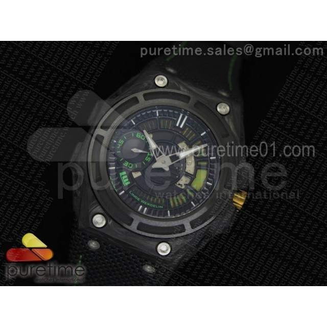 Spidolite II Tech Green Forge Carbon V6F 1:1 Best Edition Lite on Black Nylon Strap A7750