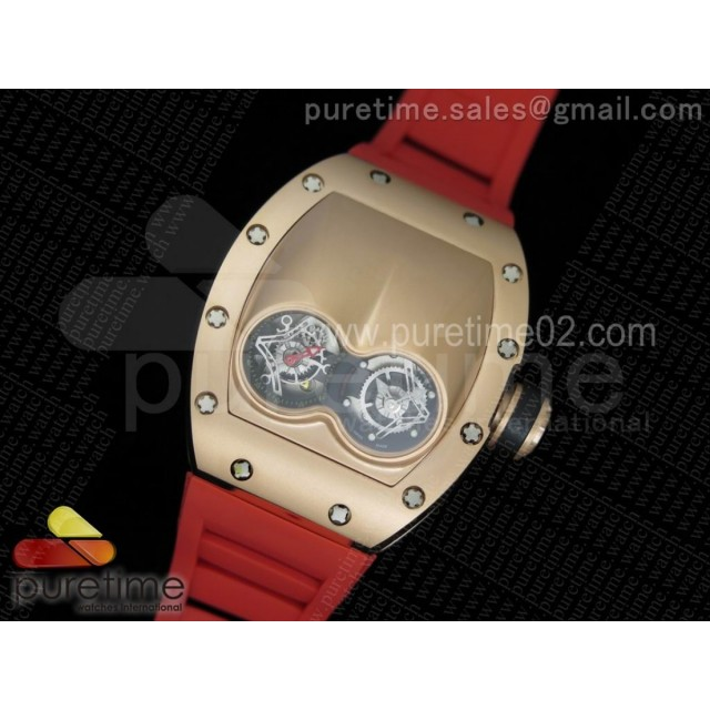 RM053 RG Fake Tourbillon Skeleton Dial on Red Rubber Strap A2824