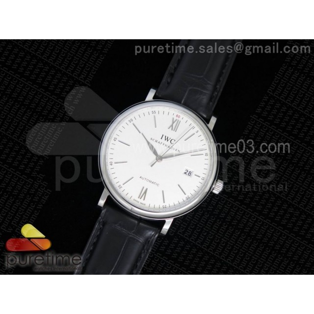 Portofino Automatic SS White Dial on Black Croco Leather Strap A2892
