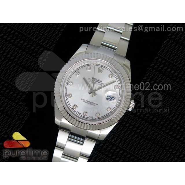DateJust II SS Fluted Bezel Silver Dial Diamonds Markers on SS Bracelet A3136