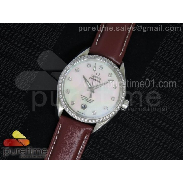 Aqua Terra 38.5mm SS White MOP Dial Diamonds Bezel on Brown Leather Strap A8500