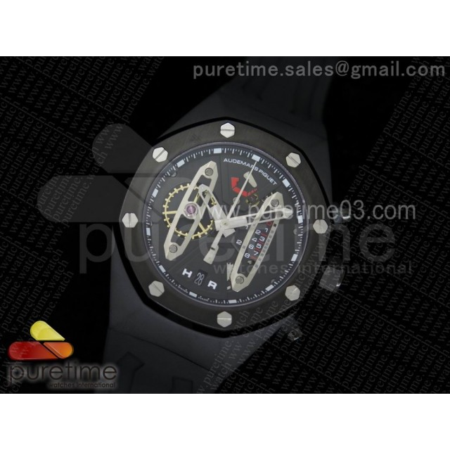 Royal Oak Concept PVD Black/Silver Dial on Black Rubber Strap Jap Quartz