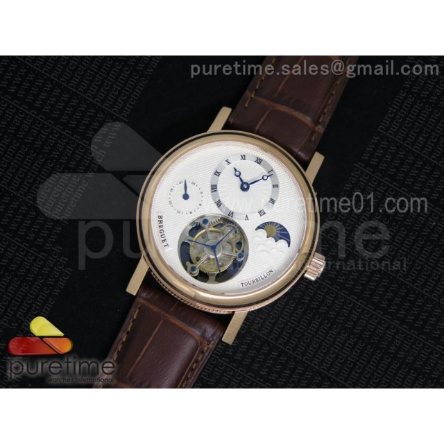 Classique Tourbillon Moonphase RG White Dial on Brown Leather Strap