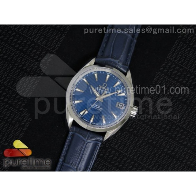 Aqua Terra 38.5mm SS Blue Textured Dial on Blue Leather Strap A8500
