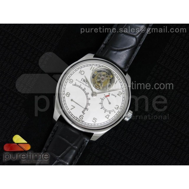 Portuguese Tourbillon Mystere SS TF Best Edition New White Dial on Black Croco Leather Strap